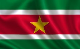 Flag of Suriname. Part of the series. Suriname flag blowing in the wind Stock Image