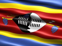 Flag of Swaziland. Computer generated illustration of the flag Swaziland with silky appearance and waves Royalty Free Stock Photos
