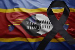 Flag of swaziland with black mourning ribbon Royalty Free Stock Photos