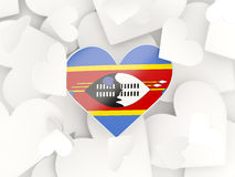 Flag of swaziland, heart shaped stickers. Background. 3D illustration Royalty Free Stock Images