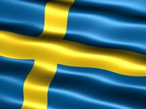 Flag of Sweden. Computer generated illustration of the flag of Sweden with silky appearance and waves royalty free illustration