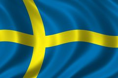 Flag of Sweden. Waving in the wind Stock Photos