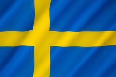 Flag of Sweden. Blue and yellow have been used as Swedish colors at least since King Magnus III royal coat of arms of 1275. The Nordic Cross represents Stock Photo