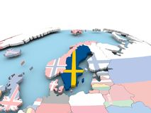 Flag of Sweden on bright globe. Sweden on political globe with embedded flags. 3D illustration Stock Images