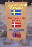 Flag of Sweden, Denmark, & Norway. I speak languages sign Stock Image