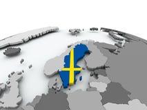 Flag of Sweden on globe. Sweden on grey political globe with embedded flag. 3D illustration Stock Photo