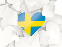 Flag of sweden, heart shaped stickers Royalty Free Stock Photos