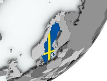 Flag of Sweden on map. Sweden on political globe with flag. 3D illustration Royalty Free Stock Images