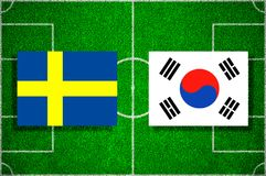 Flag Sweden - South Korea on the football field. Football match stock illustration