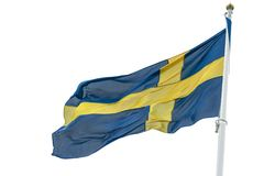 Flag of Sweden. Waving on a white background Stock Photo