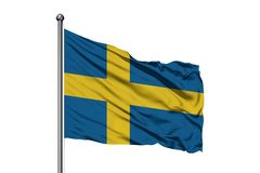 Flag of Sweden waving in the wind, isolated white background. Swedish flag royalty free stock images