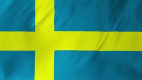 Flag of Sweden waving in the wind, looping 2 in 1. Flag of Sweden waving in the wind, looping seamless background stock video footage