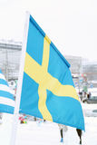Flag of Sweden on wind at winter cloudy day. In street of city Royalty Free Stock Images