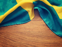 Flag of Sweden on wood Stock Photos
