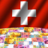 Flag with Swiss francs globe Royalty Free Stock Photography
