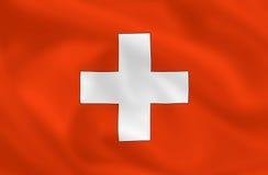 Flag of Switzerland. Swiss waving flag (background or wallpaper Stock Image