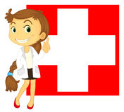 The flag of Switzerland at the back of a doctor Royalty Free Stock Images