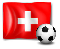 The flag of Switzerland at back of a soccer ball Stock Photo