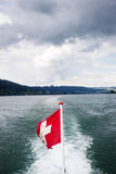 Flag of Switzerland on a Boat Royalty Free Stock Images