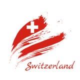 Flag of Switzerland, brush stroke background vector illustration. stock illustration