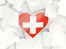 Flag of switzerland, heart shaped stickers Royalty Free Stock Photos