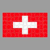 Flag of Switzerland puzzle on gray background. stock illustration
