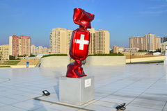 Flag of the Switzerland. Sculpture Flag of the Switzerland in Heydar Aliyev Center, in Baku Stock Photo