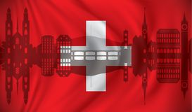Flag of Switzerland with Zurich skyline Royalty Free Stock Images
