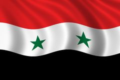 Flag of Syria. Waving in the wind Royalty Free Stock Image