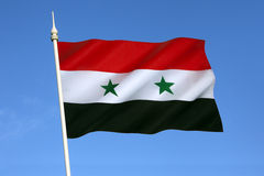 Flag of Syria. As a result of the ongoing Syrian civil war, there are currently two governments claiming to be the de jure government of Syria, using different royalty free stock photo