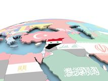 Flag of Syria on bright globe. Syria on political globe with embedded flags. 3D illustration Stock Photography