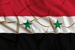 Flag of Syria on a cracked paint wall. A symbol of a fail state from Syrian Civil War. Royalty Free Stock Image