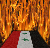 Flag of Syria in fire Stock Photo