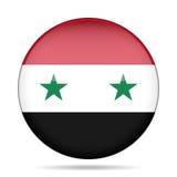 Flag of Syria. Shiny round button. Royalty Free Stock Photo
