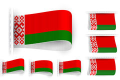 Flag Tag Clothes Label Sticker Sewn Set Belarus Stock Photography