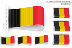 Flag Tag Clothes Label Sticker Sewn Set Belgium Royalty Free Stock Photography