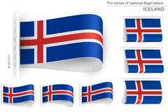 Flag Tag Clothes Label Sticker Sewn Set Iceland Stock Photo