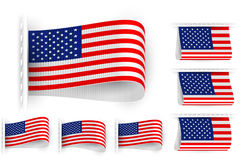 Flag Tag Clothes Label Sticker Sewn Set USA Stock Images