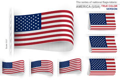 Flag Tag Clothes Label Sticker Sewn Set USA True Color Stock Image