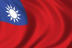 Flag of Taiwan. Waving in the wind Stock Image