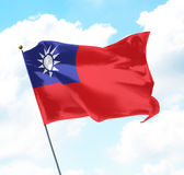 Flag of Taiwan. Raised Up in The Sky Stock Photos