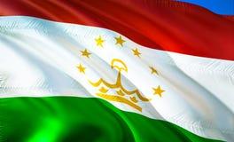 Flag of Tajikistan. 3D Waving flag design. The national symbol of Tajikistan, 3D rendering. National colors of Tajikistan 3D. Waving sign background design.CIS royalty free stock photos