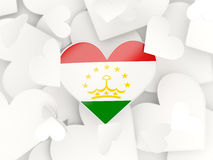 Flag of tajikistan, heart shaped stickers Stock Images