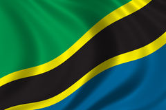 Flag of Tanzania. Waving in the wind Stock Photography