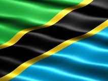 Flag of Tanzania. Computer generated illustration with silky appearance and waves Royalty Free Stock Images
