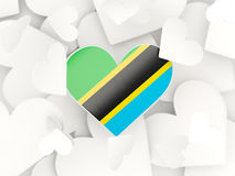 Flag of tanzania, heart shaped stickers Stock Photography