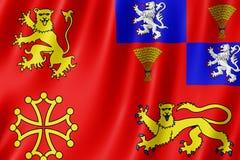 Flag of Tarn-et-Garonne, France. 3d illustration of Tarn-et-Garonne flag waving stock illustration