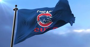 Flag of the Chicago Cubs, american professional baseball team, waving - loop. Flag of the team of the Chicago Cubs, american professional baseball team, waving stock footage