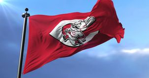 Flag of the team of the Cincinnati Reds, american baseball team - loop. Flag of the team of the Cincinnati Reds, american professional baseball team, waving at stock footage
