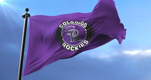 Flag of the team of the Colorado Rockies, american baseball team - loop. Flag of the team of the Colorado Rockies, american professional baseball team, waving at stock video footage